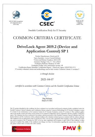 Common Criteria Certificate EAL 3+ DriveLock
